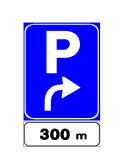 Sinjali në figurë tregon se, pas 300 metra në drejtimin e shigjetës, ndodhet një vendparkim.