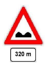 Sinjali i shoqëruar me panelin plotësues, si në figurë, paralajmëron rrugë të deformuar pas një distance prej 320 metra