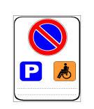 Sinjali në figurë tregon një zonë ku ndalohet qarkullimi për mjetet e invalidëve.