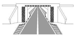Shiritat e pjerrët bardh e zi, të vendosur në sipërfaqe vertikale dhe anash karrexhatës, si në figurë, tregojnë se lejohet qëndrimi në afërsi të trotuarit.