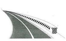 Shiritat e pjerrët bardh e zi, të vendosur në sipërfaqe vertikale, si në figurë, tregojnë një pengesë rrugore për shkak se bëhen punime.