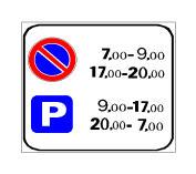 Sinjali në figurë lejon parkimin e mjeteve nga ora 7:00 deri në 9:00 të mëngjesit.