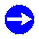 Sinjali në figurë detyron kthimin djathtas në kryqëzim.
