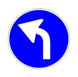 Sinjali në figurë paralajmëron detyrimin për t'u kthyer majtas në kryqëzim.